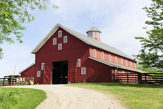 red barn on property