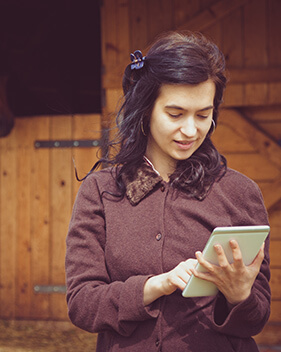 woman using internet on tablet in horse stable